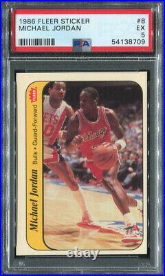 1986 Fleer Sticker #8 Michael Jordan Psa 5 (8709) Rookie Bulls Last Dance