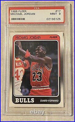 1988 Fleer Michael Jordan #17 PSA Mint 9 Centered GOAT 3rd Year Card Last Dance