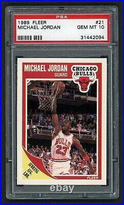 1989 Fleer Michael Jordan #21 Bulls Hof Last Dance Goat Psa 10 Gem Mint