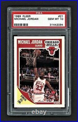 1989 Fleer Michael Jordan #21 Chicago Bulls Hof Last Dance Psa 10 Gem Mint