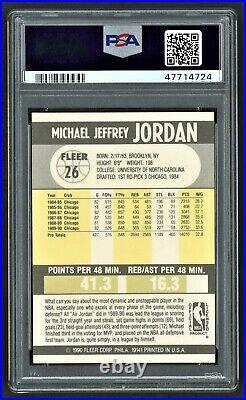 1990 Fleer Michael Jordan #26 Chicago Bulls Hof Last Dance Psa 9 Mint
