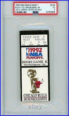 1992 Nba Finals Chicago Bulls Portland Michael Jordan Ticket Stub Psa 3 Game 1