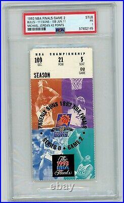 1993 Nba Finals Chicago Bulls Phoenix Suns Michael Jordan 42 Pts Ticket Stub Gm2