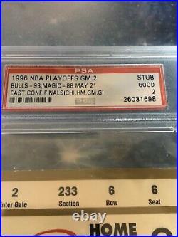 1996 NBA Eastern Conf Finals Bulls vs Magic GM 2 Ticket PSA Michael Jordan Shaq