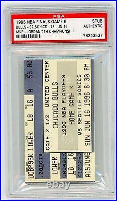 1996 Nba Finals Ticket Stub Michael Jordan Game 6 Clincher Chicago Bulls Seattle
