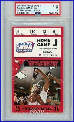 1997 Nba Finals Chicago Bulls Utah Jazz Michael Jordan Psa Ticket Stub Game 1