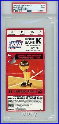 1997 Nba Finals Chicago Bulls Utah Jazz Michael Jordan Ticket Stub Psa 2 Game 2