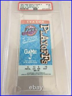 1997 Nba Finals Game 4 Ticket Jazz Bulls Psa 1.5 Pop 1 Michael Jordan Game J