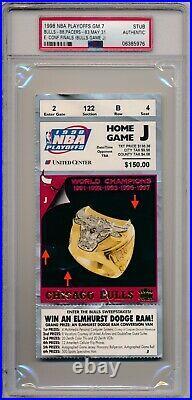 1998 Eastern Conference Finals Bulls vs Pacers Game 7 Ticket Michael Jordan PSA
