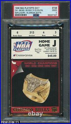 1998 NBA Conference Finals Game 7 Ticket Stub Bulls Michael Jordan PSA 2 GOOD