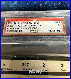 1998 NBA Eastern Conf Finals Bulls vs Pacers Game 2 Ticket PSA Michael Jordan