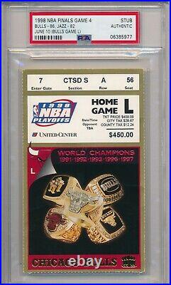 1998 NBA Finals Chicago Bulls vs Jazz Ticket Stub PSA Michael Jordan 34 pts