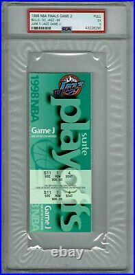 1998 NBA Finals Game 2 Full Ticket Michael Jordan Finals PSA 5