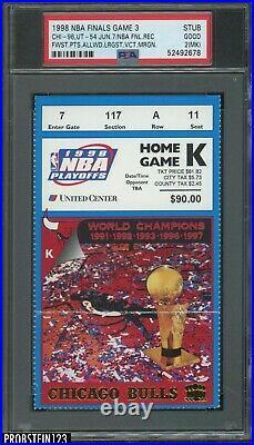 1998 NBA Finals Game 3 Ticket Stub Fewest Points Allowed Michael Jordan PSA 2
