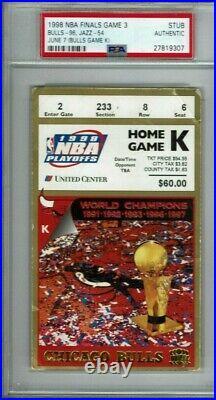 1998 NBA Finals Game 3 Ticket Stub Michael Jordan Finals PSA Authentic