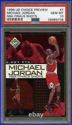 1998 UD Choice Preview NBA Finals Shots #7 Michael Jordan PSA 10 GEM MINT. POP 2