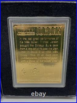 2000 Upper Deck Michael Jordan MJ'S Final Floor 22kt Gold Encased Card SP with Box