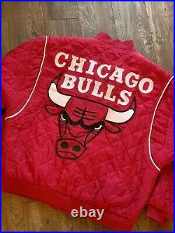 Chicago Bulls NBA JH Silk Bomber Quilt Jacket Coat Michael Jordan The Last Dance