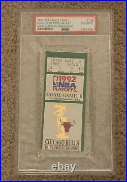 MICHAEL JORDAN SHRUG GAME TICKET STUB 1992 NBA Finals Game1 PSA green Bulls