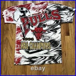 Men's Vintage 1996 Chicago Bulls NBA Finals All Over Print AOP T Shirt Tee Sz XL