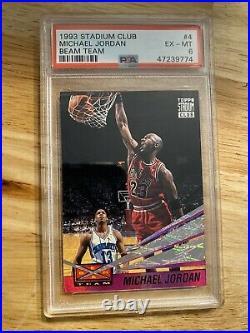 Michael Jordan Beam Team PSA 6 Insert Card 1993 Stadium Club #4 Last Dance NR