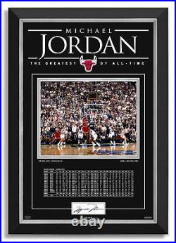 Michael Jordan Facsimile Signed Last Shot Chicago Bulls Archival Etched Glass