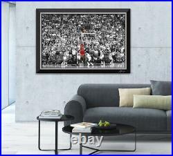 Michael Jordan Last Shot Framed Canvas Etched Signature