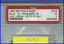 Michael Jordan NBA Finals (PSA) 1992 Game 1 Ticket Shrug Game 35 Points 1st 1/2