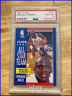 Michael Jordan PSA 8 Fleer All Star ICON INVEST Last Dance Man Cave Collector NR
