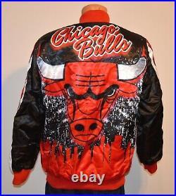 New RARE Starter Black Label Chicago Bulls NBA Finals Jacket Red/White/Black M