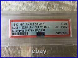 PSA 1993 NBA Finals Chicago Bulls Suns GM 3 Ticket Jordan 44 Pts/9 Rbs/6 Ast
