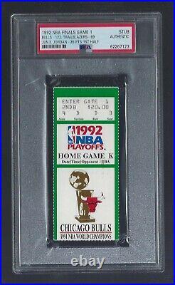 Psa Michael Jordan Shrug Game Ticket Stub Bulls 1992 Nba Finals Game 1 Green