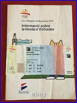 UNUSED Final Ticket Basketball Olympic Games 1992 Usa Croatia Dream Team Jordan