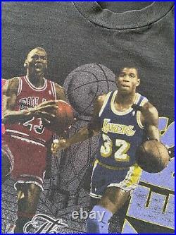 Vintage 1991 NBA Finals Bulls Lakers Michael Jordan Magic Johnson T-Shirt 90s XL