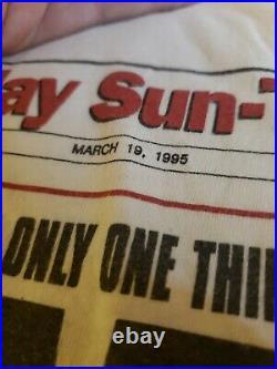 Vintage 1995 Michael Jordan Bulls Im Back! Last Dance Newspaper NBA shirt XL