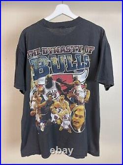 Vtg 90s Chicago Bulls Michael Jordan NBA finals rap bootleg all over shirt xl